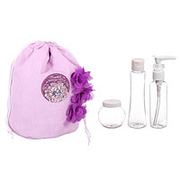 Набор 'Самой прекрасной' косметичка-мешок и 3 ёмкости для косметики