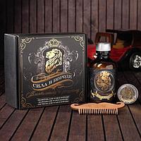 Набор шампунь, бальзам и расческа для усов и бороды 'Сила в бороде', 14 х 15 см