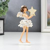 Сувенир полистоун 'Ангелочек-девочка в платье с воланами, со звёздочкой' 12х4,5х5,5 см (комплект из 6 шт.)