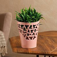 Кашпо 'Орхидейница', резная, розовая, керамика