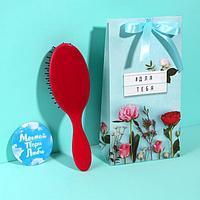Подарочный набор 'Для тебя', 2 предмета зеркало, массажная расчёска, цвет МИКС