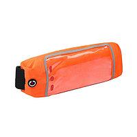 Спортивная сумка чехол на пояс LuazON, управление телефоном, отсек на молнии, оранжевая