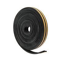 Уплотнитель для окон и дверей UBL010E E-профиль (резиновый) на клейкой основе, цвет черный,