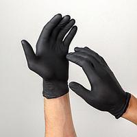 Перчатки медицинские нитрил нестерил. текстур. на пальцах черные BENOVY, S 100 пар (комплект из 100 шт.)
