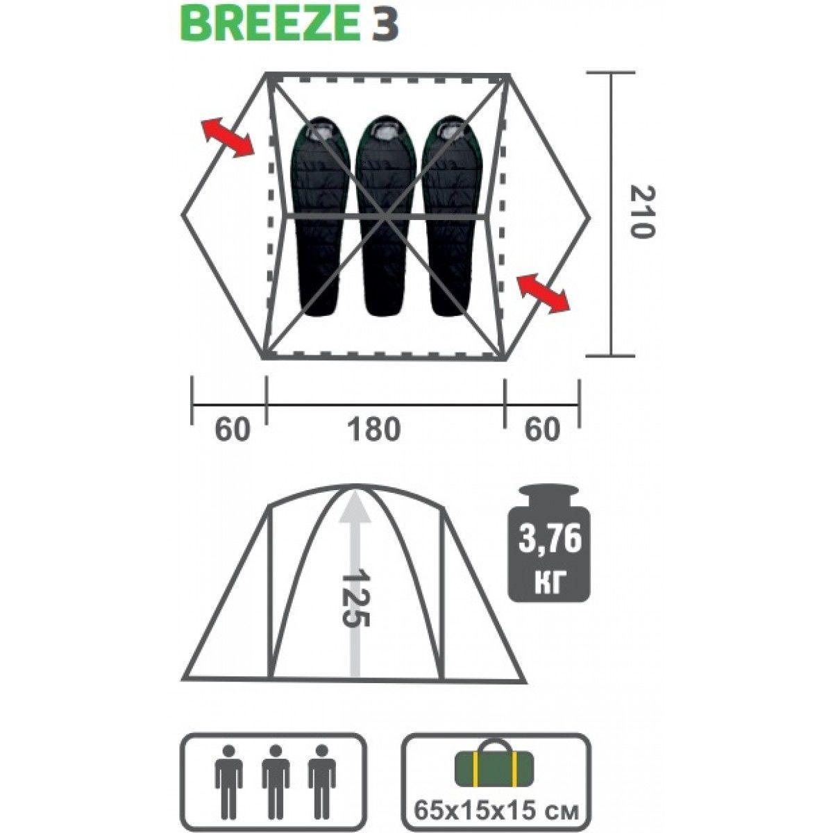 Палатка BREEZE-3 Helios зеленый HS-2370-3 - фото 7
