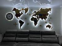 Многоуровневая карта мира из дерева 130×90 см
