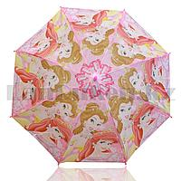 Зонт детский принцесса Белль и Ариэль трость 66 сантиметров розовый