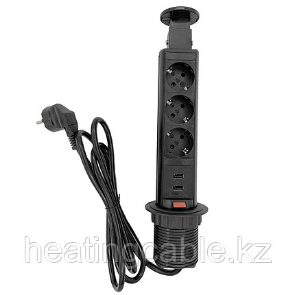 Выдвижной настольный розеточный блок на 3 розетки 200B, 2 USB розетки, Чёрный, фото 2