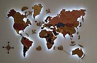 Многоуровневая карта мира из дерева 200/130