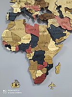 Многоуровневая карта мира из дерева 250/160