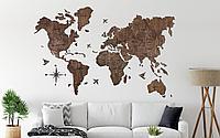 Одноуровневая карта мира из дерева 130×90 см