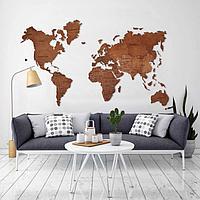 Одноуровневая карта мира из дерева 150×110 см