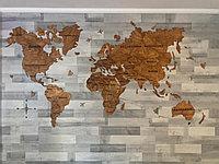 Одноуровневая карта мира из дерева 200×130 см