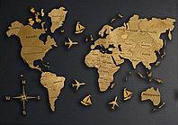 Одноуровневая карта мира из дерева 300×185 см