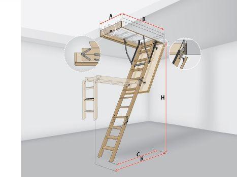 Лестницы на чердак раскладные LWS Plus 70х120х335
