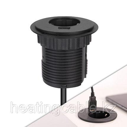 Настольный розеточный блок на 1 розетку 200B, 1 USB розетку, черный, фото 2