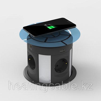 Выдвижной настольный розеточный блок на 4 розетки 200B, 2 USB розетки, 2 RJ45 розетки, беспроводная зарядка, фото 2