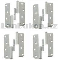 Набор петель накладных ПН1-110 правые стальные с цинковым покрытием Металлист 4 шт 91554 (002)