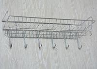 Полка металлическая с крючками, хром А007