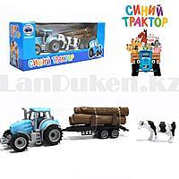 Набор игрушечный для детей Синий трактор прицеп с коровой EN 1001
