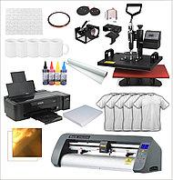 Комплект Универсальный термопресс 6 в 1 + Принтер для сублимационной печати + Режущий плоттер + комплектующие