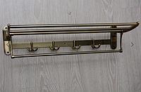 Полка настенная с крючками, бронза А58