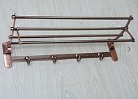 Полка настенная с крючками, медь А58