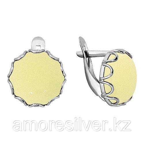 Серьги Золотые узоры серебро с родием, кристалл, с английским замком, круг 90-02-5258-00