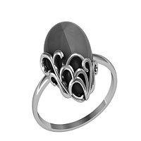 Кольцо Приволжский Ювелир серебро с родием, агат зеленый бирюза, капля 261094 размеры - 18,5
