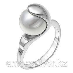 Кольцо Красная Пресня серебро с родием, жемчуг имит., , модное 2366070д размеры - 17 17,5 19 19,5