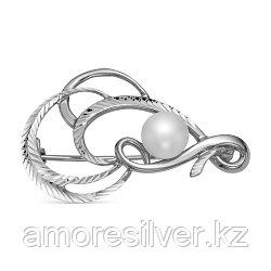 Брошь Красная Пресня серебро с родием, жемчуг культ., символы 1339432Д5