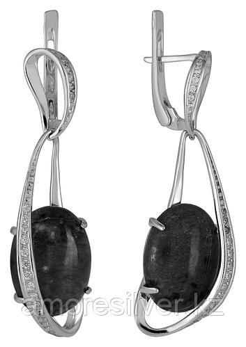 Серьги Невский серебро с родием, кошачий глаз фианит, с английским замком, овал 43472А