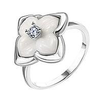 Кольцо Teosa серебро с родием, керамика фианит, флора ZCR-2259-W размеры - 17