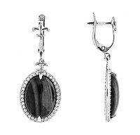 Серьги Приволжский Ювелир серебро с родием, лунный камень фианит, овал 351274