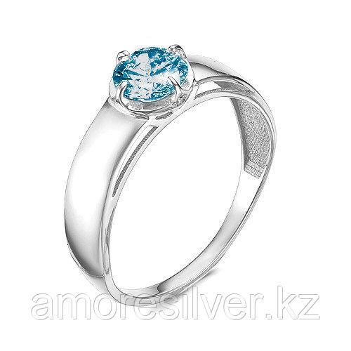 """Кольцо Teosa серебро с родием, топаз лондон фианит, , """"каратник"""" 121-1603TL размеры - 16,5 17,5"""