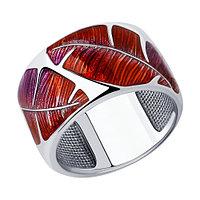 Кольцо SOKOLOV серебро с родием, эмаль, флора 94012854 размеры - 16,5 17,5 18,5 19