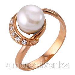 """Кольцо Красная Пресня серебро с позолотой, жемчуг культ. фианит, """"линии"""" 2332067 размеры - 18,5"""