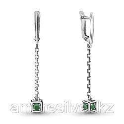 """Серьги Aquamarine серебро с родием, агат зеленый, с английским замком, """"каратник"""" 4719509.5"""