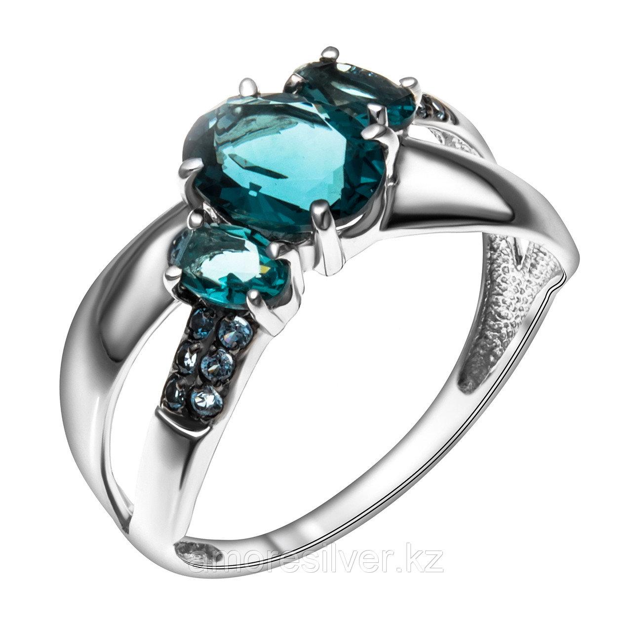Кольцо Teosa серебро с родием, топаз лондон фианит, многокаменка 1000-0071-TL размеры - 18
