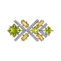 Брошь Teosa серебро с родием, фианит хризолит цитрин, замок-булавка, геометрия Бш620-5339М2