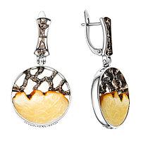 Серьги Darvin из черненного серебра, янтарь белый, необычное 529034005ab