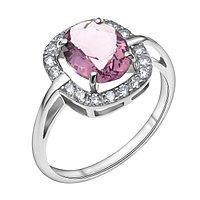"""Кольцо TEOSA серебро с родием, фианит, """"halo"""" 100-577-AM размеры - 17"""