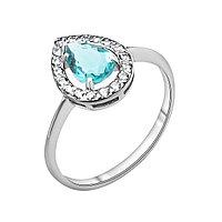 """Кольцо TEOSA серебро с родием, фианит синт., """"halo"""" 100-579-T размеры - 17"""
