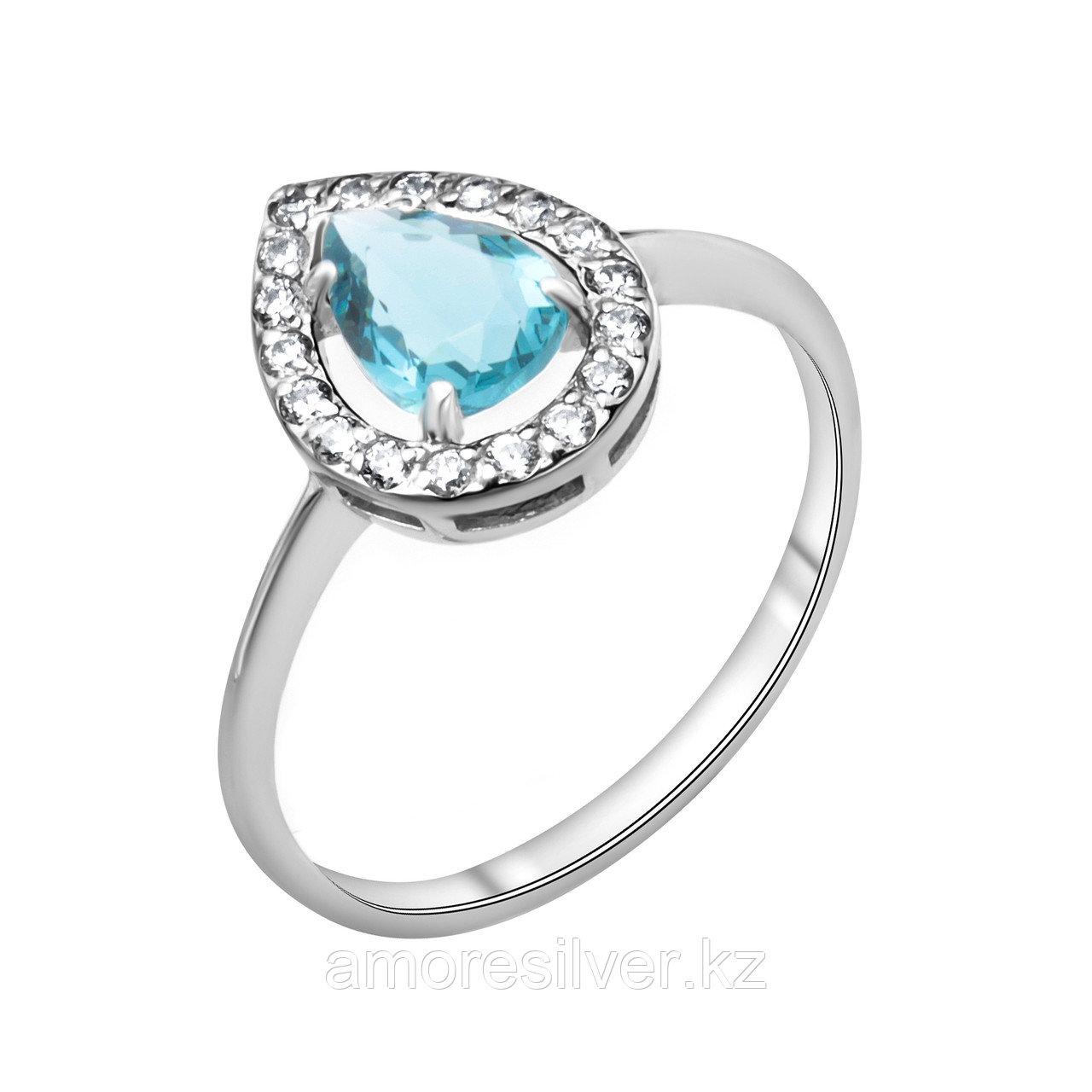 """Кольцо TEOSA серебро с родием, фианит синт., """"halo"""" 100-579-TL размеры - 17,5"""