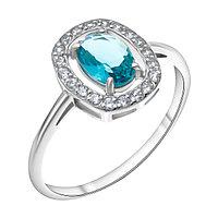 """Кольцо TEOSA серебро с родием, фианит, """"halo"""" 100-562-TL размеры - 18"""