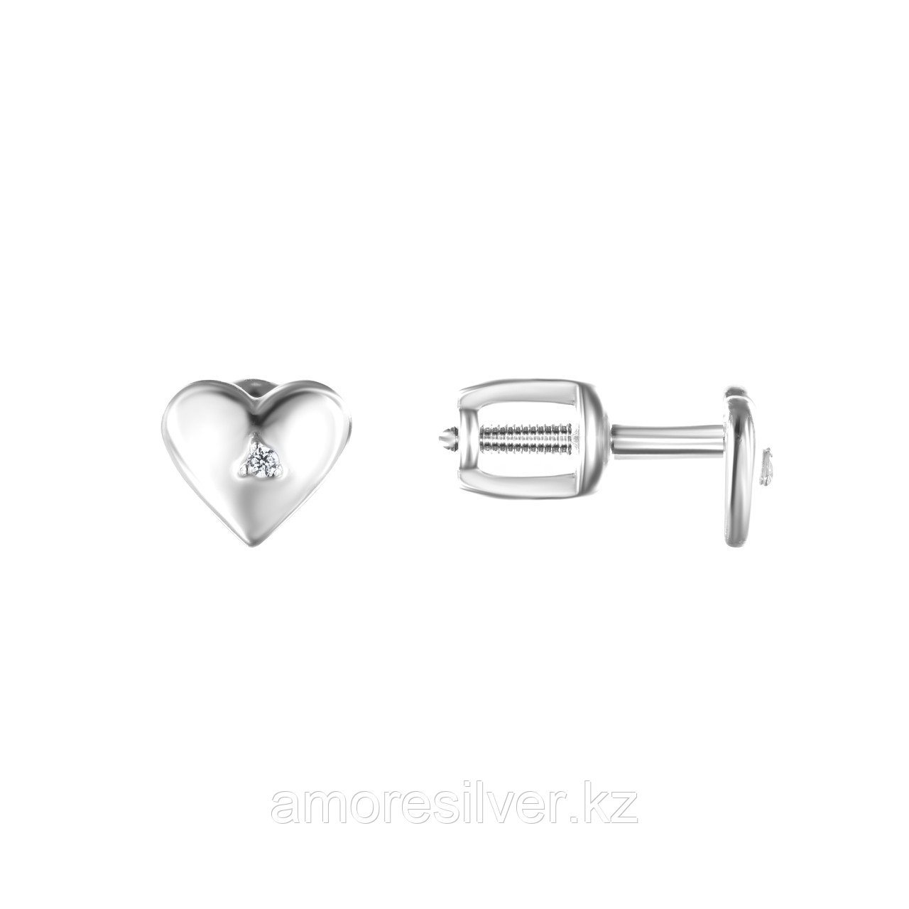 Серьги TEOSA серебро с родием, фианит, love 10219-0596-CZ - фото 1