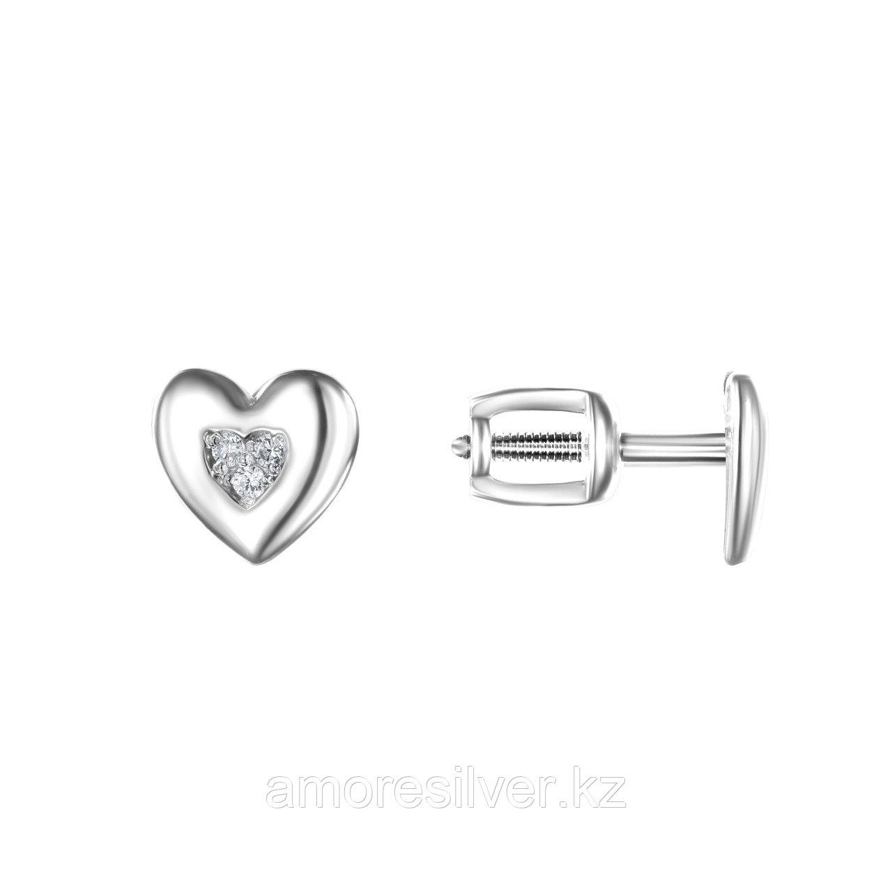 Серьги TEOSA серебро с родием, фианит, love 10219-0623-CZ - фото 1