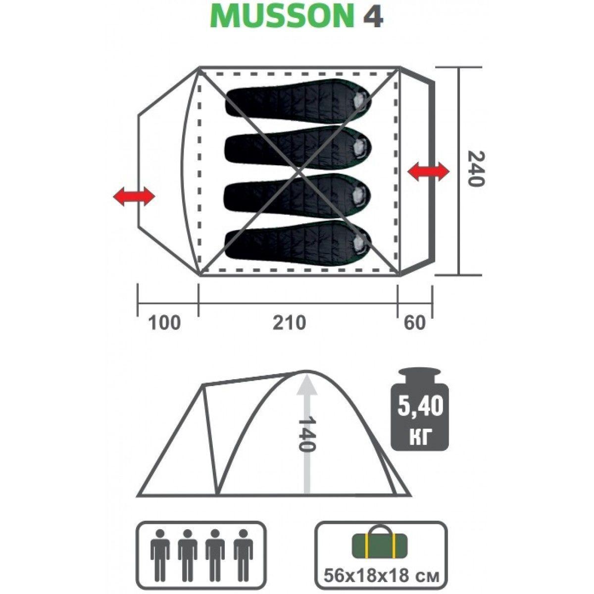 Палатка MUSSON-4 Helios зеленый-оранжевый HS-2366-4 GO - фото 8