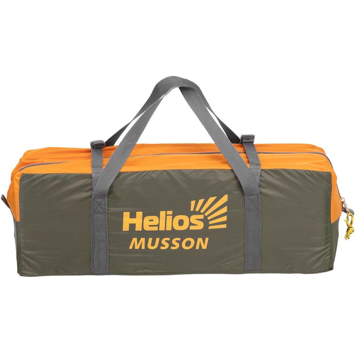 Палатка MUSSON-4 Helios зеленый-оранжевый HS-2366-4 GO - фото 9