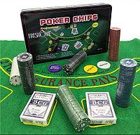 Покерный набор в жестяном кейсе на 300 фишек с сукном